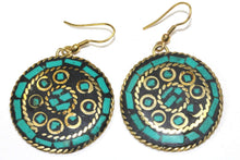 Load image into Gallery viewer, Green Mosaic Round Earrings