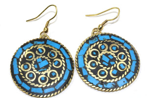 Azure Blue Mosaic Round Earrings