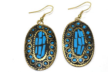 Load image into Gallery viewer, Turquoise Mosaic Oval Earrings