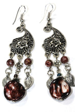 Load image into Gallery viewer, Earthy Brown Paisley Charm Earrings