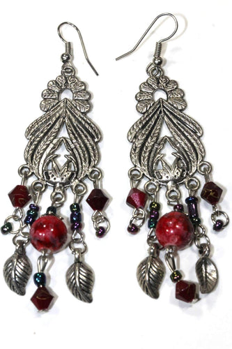Red Bohemian Queen Marbled Bead Earrings