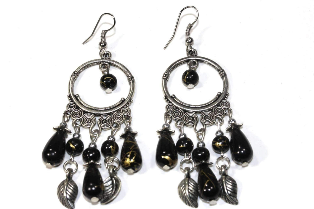 Deep Black Flow Or Flair Versatile Dangler Earrings