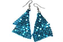 Load image into Gallery viewer, Blue Shimmer Mesh Earrings