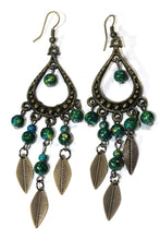 Load image into Gallery viewer, Green Free Spirit Leaf Dangler Earrings