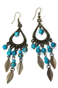 Turquoise Free Spirit Leaf Dangler Earrings