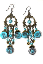 Load image into Gallery viewer, Turquoise Seed Bead Chandelier Earrings