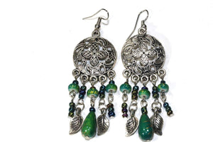 Dark Green Dream Catcher Style Flower Earrings