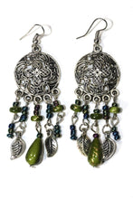Load image into Gallery viewer, Olive Green Dream Catcher Style Flower Earrings