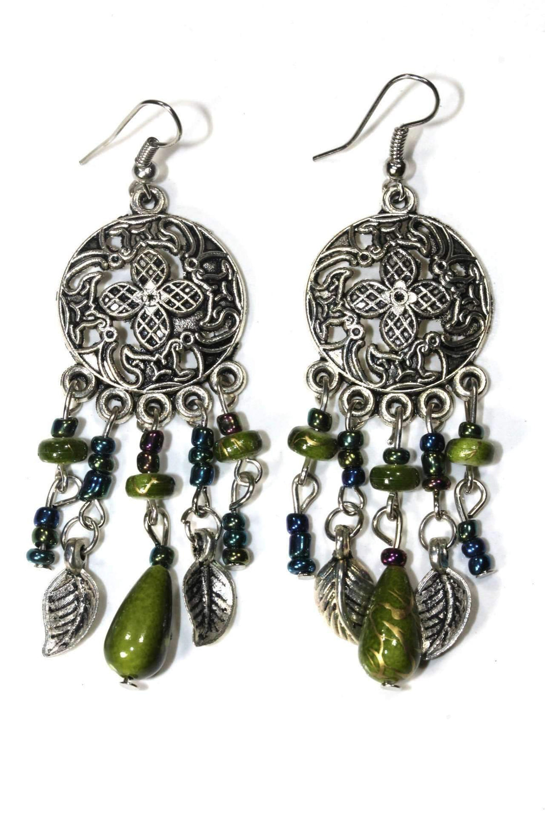 Olive Green Dream Catcher Style Flower Earrings