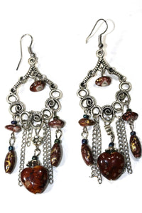 Brown Marbled Beads Scroll Work Dangler Earrings