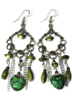 Load image into Gallery viewer, Green Marbled Beads Scroll Work Dangler Earrings