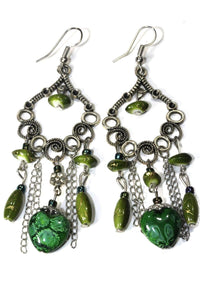 Green Marbled Beads Scroll Work Dangler Earrings