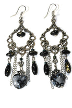 Load image into Gallery viewer, Black Marbled Beads Scroll Work Dangler Earrings