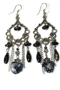 Black Marbled Beads Scroll Work Dangler Earrings