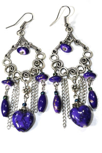 Purple Marbled Beads Scroll Work Dangler Earrings