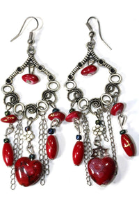 Red Marbled Beads Scroll Work Dangler Earrings