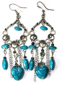 Turquoise Marbled Beads Scroll Work Dangler Earrings