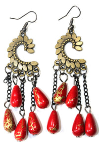 Red Paisley Petal & Shimmer Beads Earrings