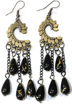 Load image into Gallery viewer, Black Paisley Petal & Shimmer Beads Earrings
