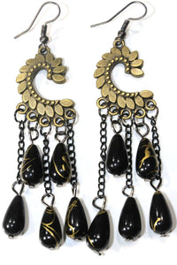 Black Paisley Petal & Shimmer Beads Earrings
