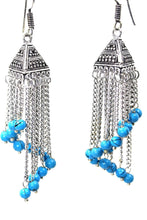 Load image into Gallery viewer, Blue Curving Dangle Chandelier Bead Earrings