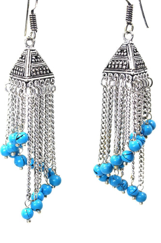 Blue Curving Dangle Chandelier Bead Earrings
