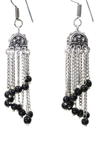 Black Curving Dangle Chandelier Bead Earrings