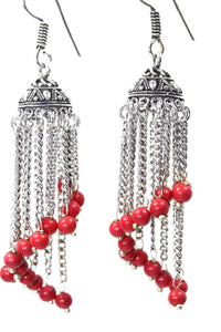 Red Curving Dangle Chandelier Bead Earrings