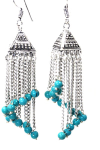 Turquoise Curving Dangle Chandelier Bead Earrings