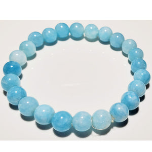 8mm Aquamarine Beaded Elastic Stretch Bracelet | Wild Lotus® | @wildlotusbrand