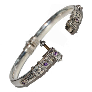 Artisan Unique Handmade Amethyst Tribal Style Hinged Bangle with Barrel Screw Clasp