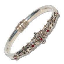 Load image into Gallery viewer, Artisan Unique Handmade Raw Ruby Tribal Style Hinged Bangle with Barrel Screw Clasp