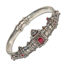 Load image into Gallery viewer, Artisan Unique Handmade Raw Ruby Scroll-work Hinged Bangle with Barrel Screw Clasp