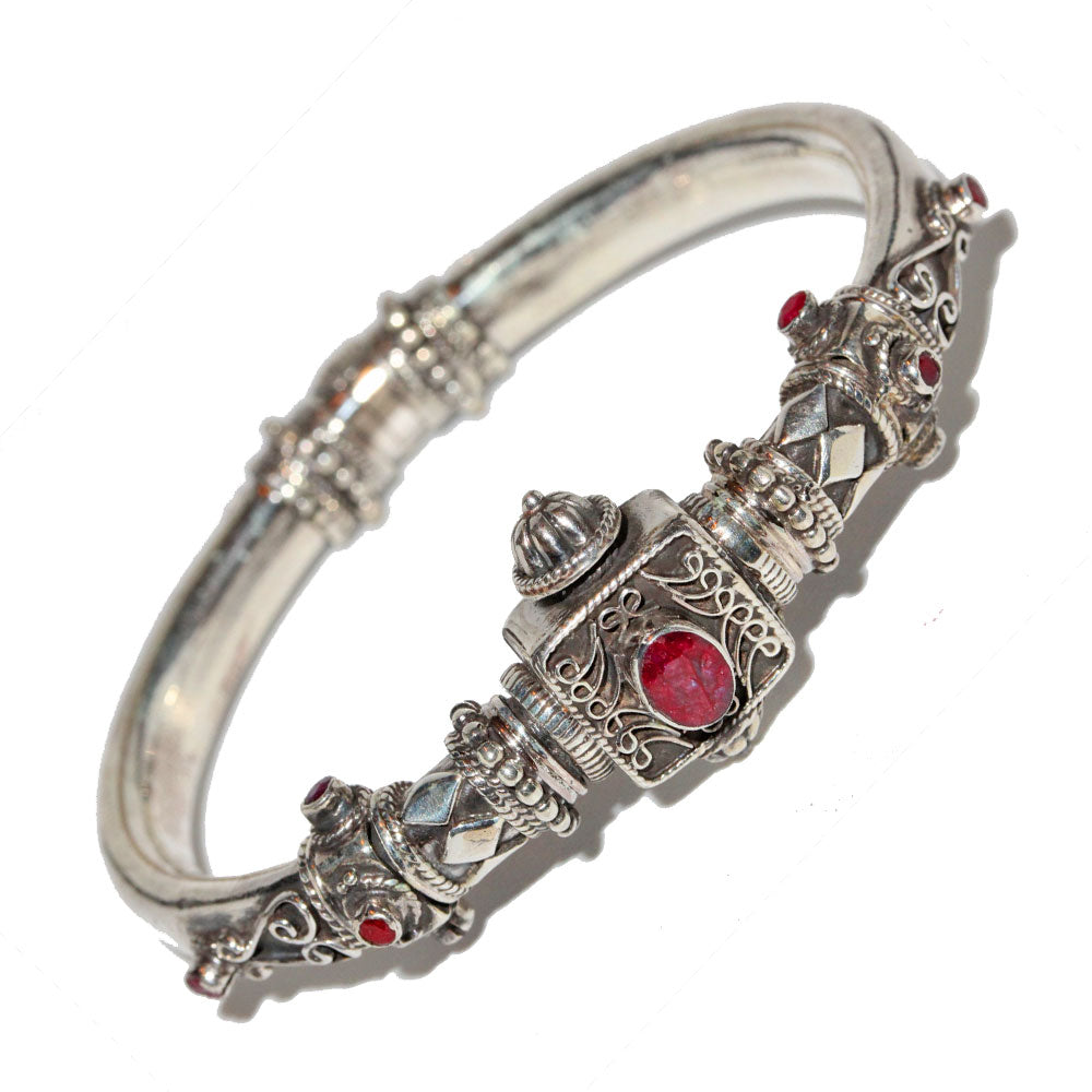 Artisan Unique Handmade Raw Ruby Scroll-work Hinged Bangle with Barrel Screw Clasp