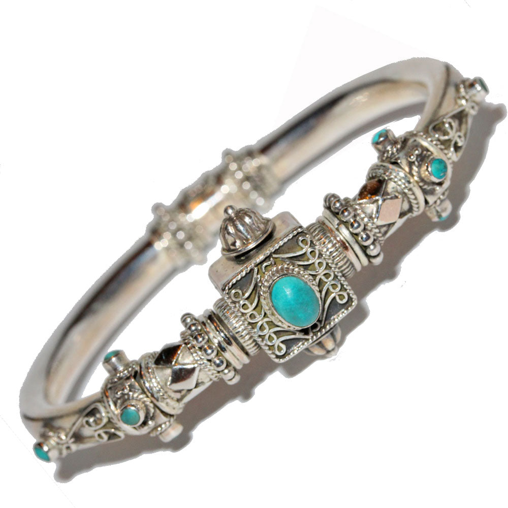 Artisan Unique Handmade Turquoise Scroll-work Hinged Bangle with Barrel Screw Clasp