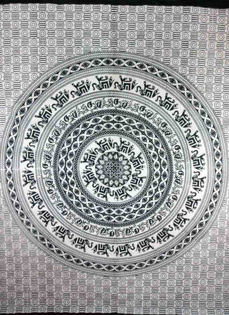 Beige & Black Elephant Mandala Self Design Tapestry