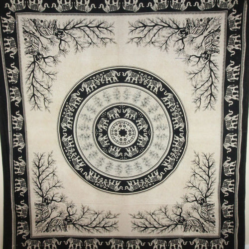 Black Tigers & Elephants Majestic Beasts Tapestry