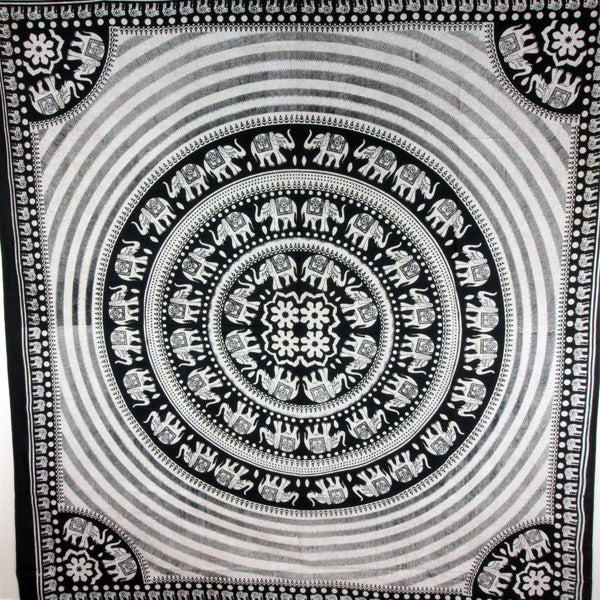 Black & White Elephant Mandala With Self Design Tapestry