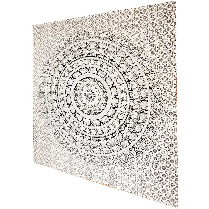 Black and White Elephant Mandala Chakra Star Full Size Tapestry Wall Art | Wild Lotus® | @wildlotusbrand