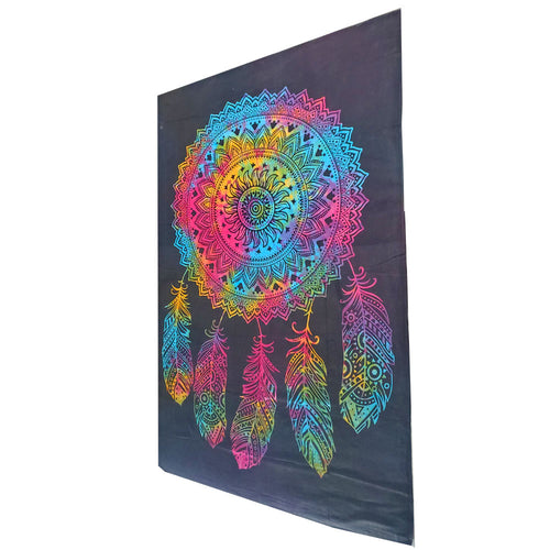 Black Dreamcatcher Tapestry Psychedelic Art Wall Hanging Decor | Wild Lotus® | @wildlotusbrand