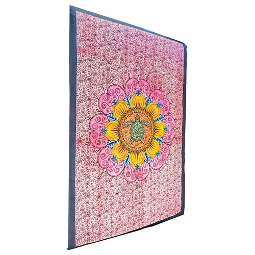 Blooming Floral Design Turtle Tapestry Bohemian Wall Hanging Bedspread | Wild Lotus®