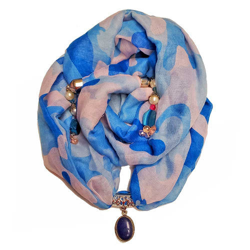 Blue Camouflage Cotton Cover Up Pendant Scarf | Wild Lotus® | @wildlotusbrand