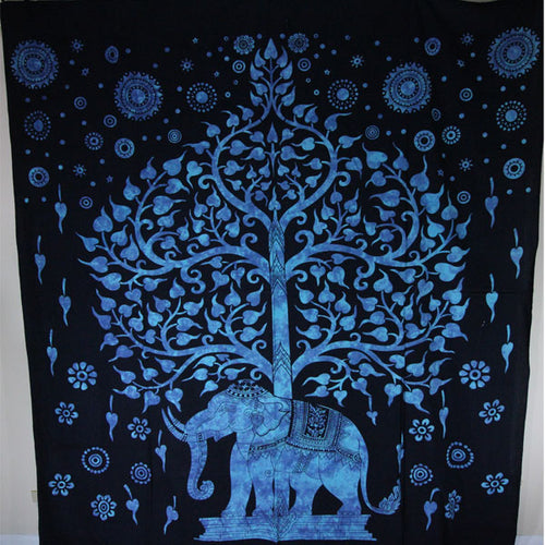 Blue Decorative Majestic Elephant & Tree Of Life Tapestry