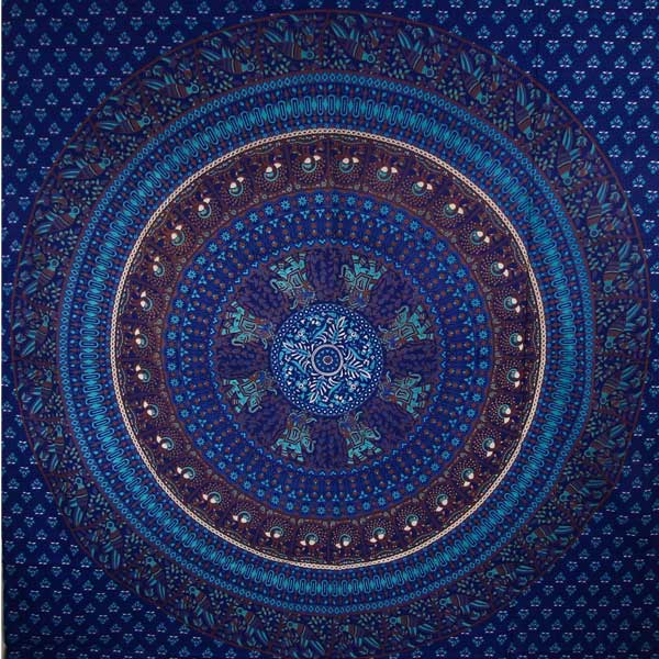 Blue Elephants & Birds Tapestry
