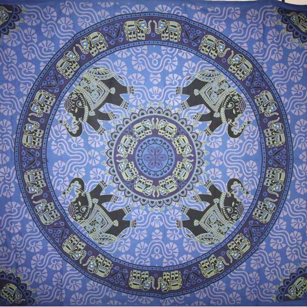 Blue Grand Elephant Festival Mandala Tapestry