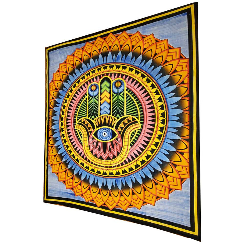 Blue Hand of Fatima Wall Art Room Decoration Cotton Tapestry Full Size Bedspread | Wild Lotus® | @wildlotusbrand | wildlotusbrand.com