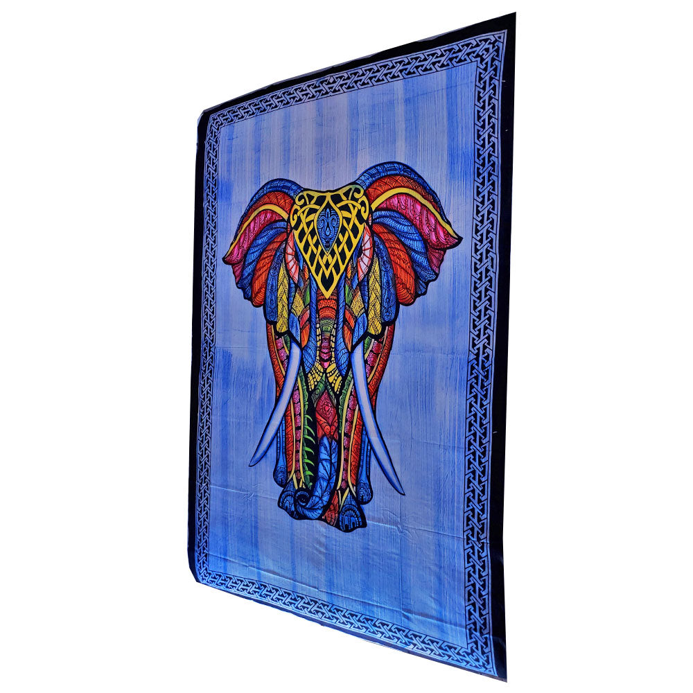 Blue Indian Bohemian Elephant Brushstroke Art Tapestry Wall Hanging Decoration
