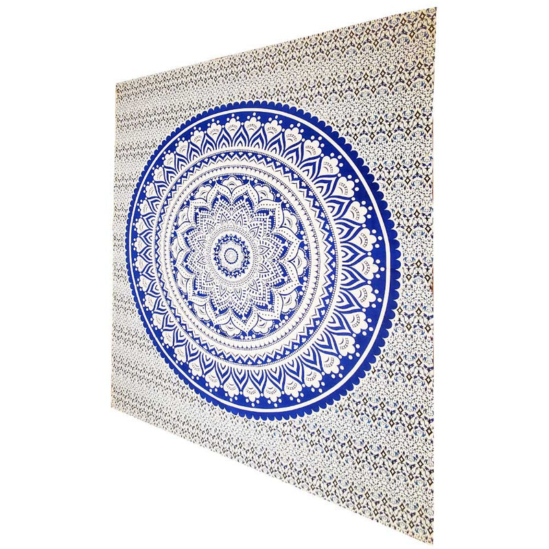 Blue Ombre Art Pattern Full Size Sheet Tapestry Wall Hanging Decoration | Wild Lotus® | @wildlotusbrand