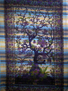 Blue Tree of Life Birds Art in Handloom Tapestry