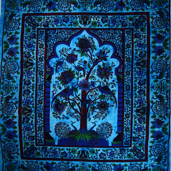 Blue Tree of Life Peacock Tapestry